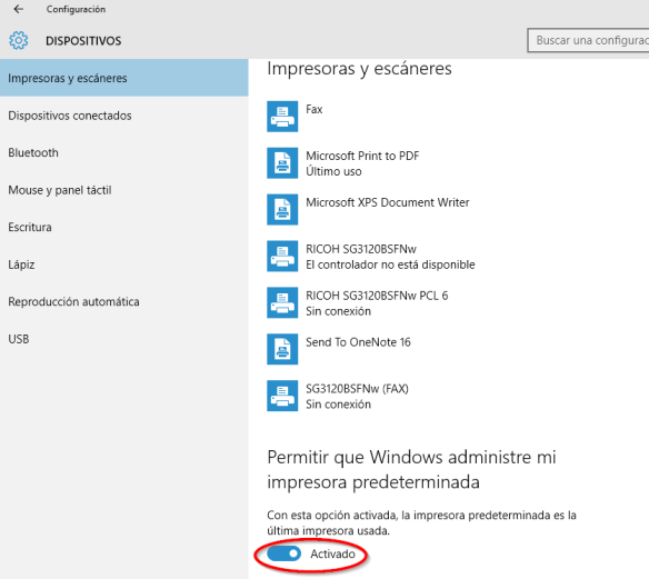 Windows 10. Impresora Predeterminada