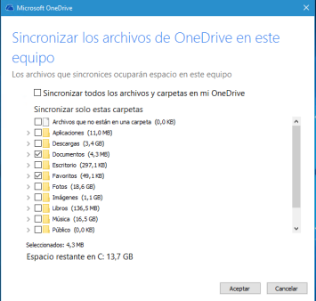 OneDrive-Seleccionar Carpetas
