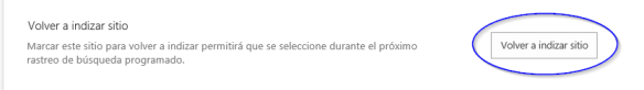 OneDrive-Volver a indexar sitio
