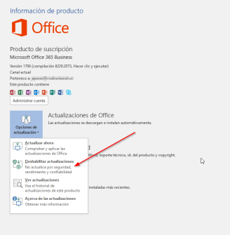 Office 365 MSCOMCTL - deshabilitar updates