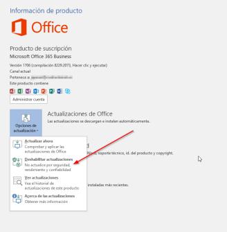 Office 365 MSCOMCTL - deshabilitar updates